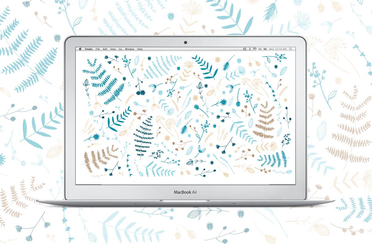 winter leaves + macbook