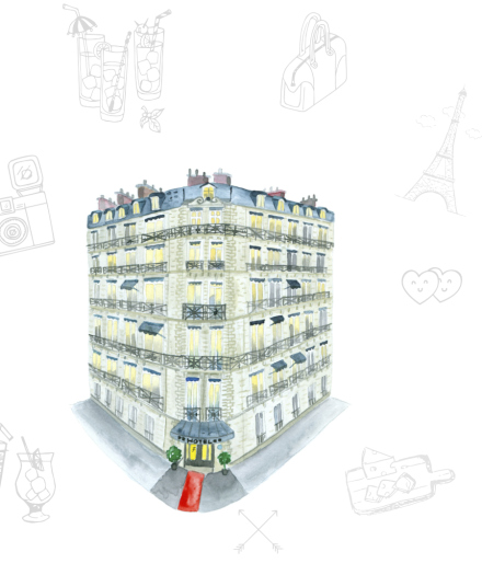Watercolor illustration of the Hotel La Trémoille in Paris