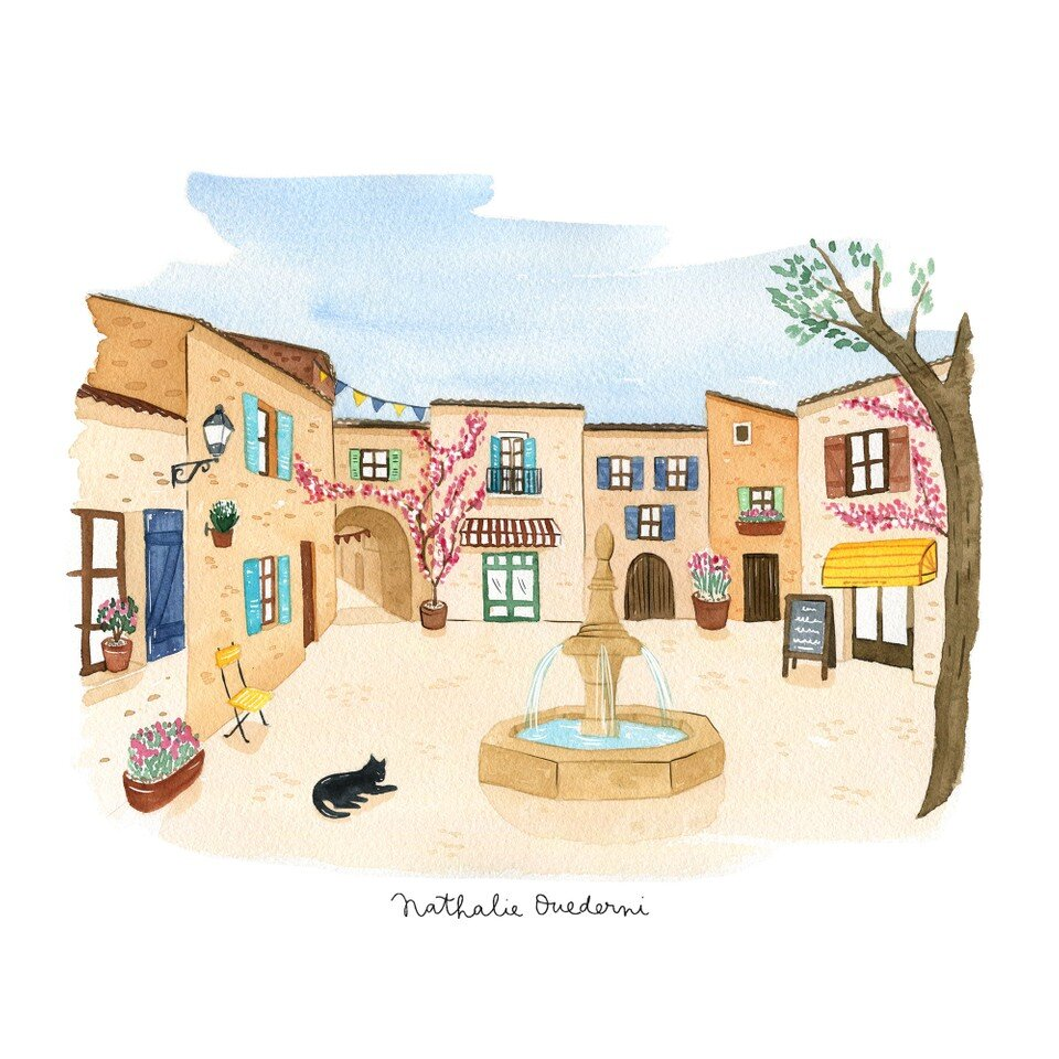 French village watercolor illustration