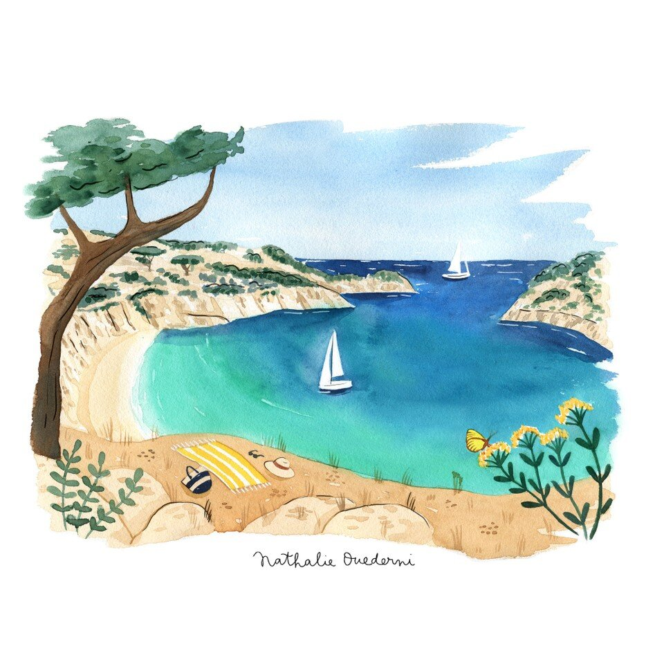 Beach in Provence watercolor illustration