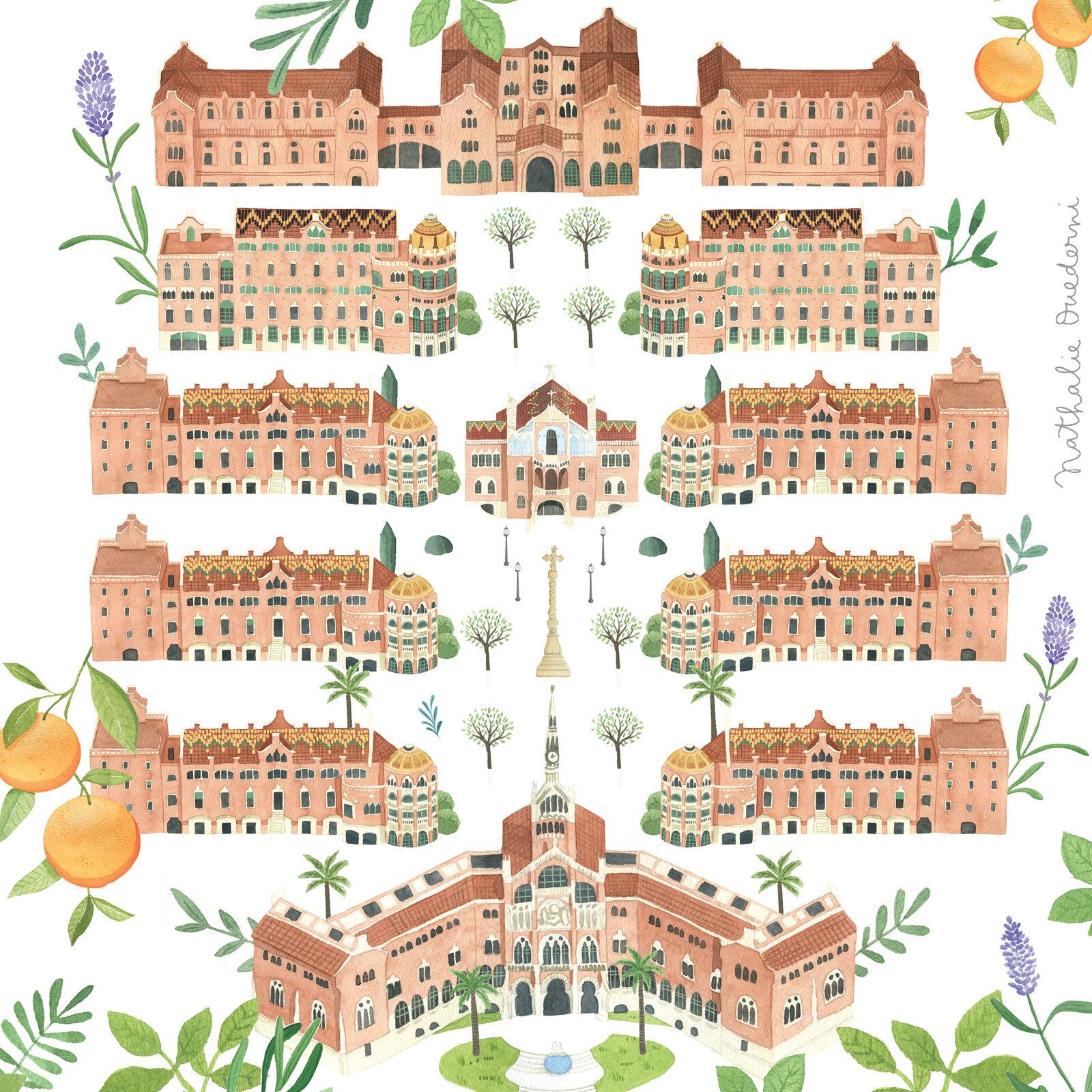 Illustrated map of Hospital Sant Pau