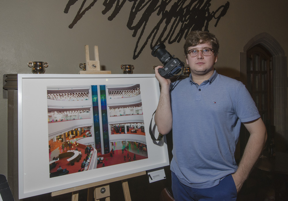 The ever so lovely Jacob Louvelle-Burt with his photograph of the Toronto Reference Library