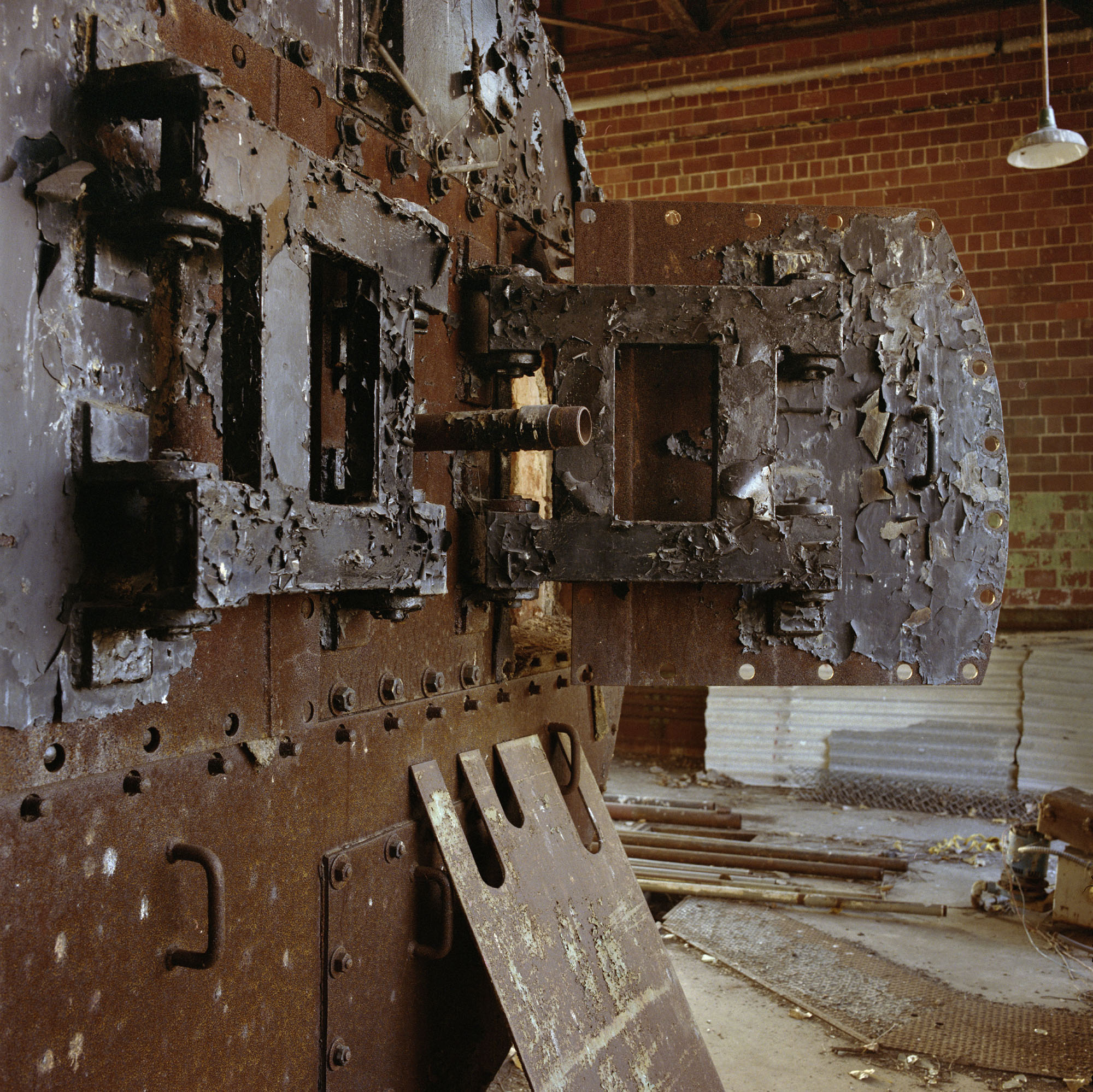 Furnace building, with light, October 10, 1996