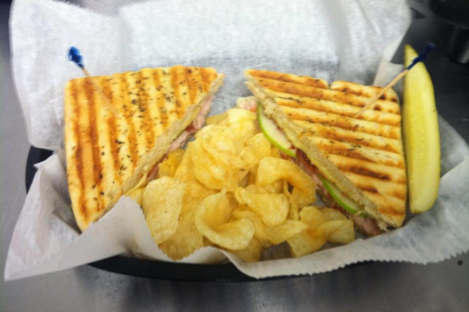 Turkey, bacon, Gouda cheese, thinly sliced apples, and mayo pressed on focaccia.