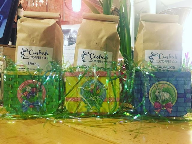 The Easter Bunny came early to Casbah this year! Hop on in for some coffee to share with the family at home. #localcoffeeroaster #freshroastedcoffee #casbahcoffeeco