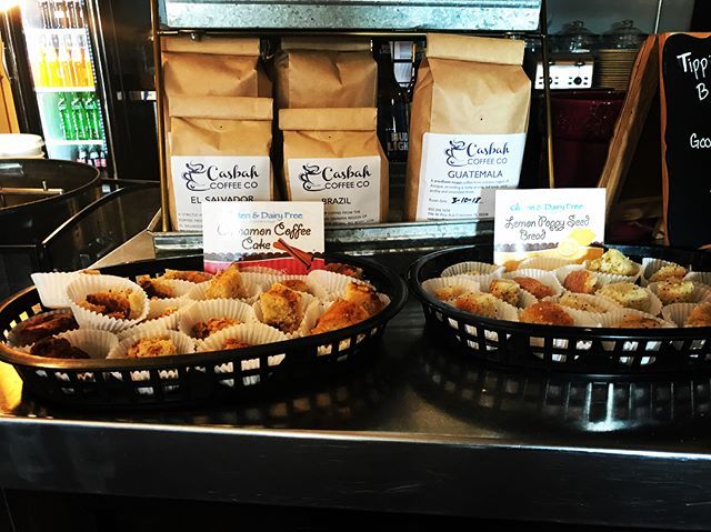 Alright gluten free friends, we need your help! We are sampling two gluten free desserts today : cinnamon coffee cake and lemon poppy seed bread. Come on in and let us know what you think of it for us to consider carrying it on a regular basis. #glutenfree #stilldelicious #localcoffeeshop