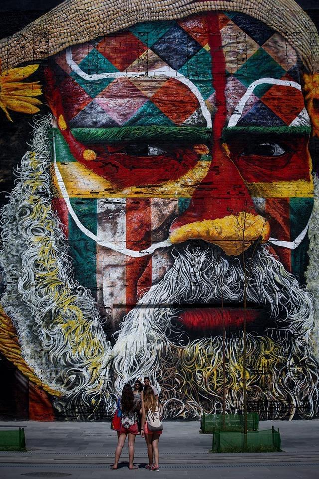 Ethnias, a large nural by graffiti artist Eduardo Kobra at Porto Maravilha, Rio de Janeiro, Brazil
