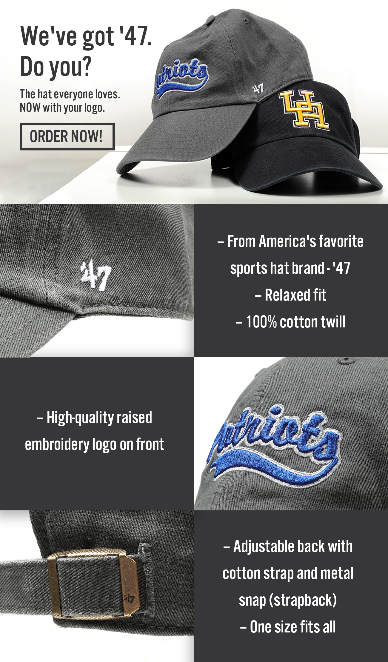 Email designed for Ares Sportswear advertising '47 brand hats.