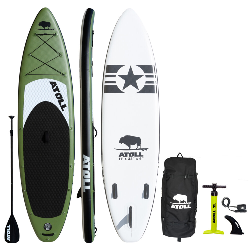 2020 ARMY GREEN iSUP PACKAGE — Atoll Boards Inflatable Stand Up Paddle Board