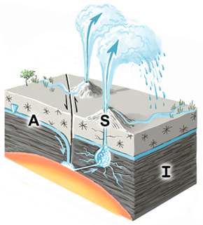 Sketch of Geyser spring type. A=aquifer; I=impermeable stratum; S=spring source. The inverted triangle represents the water table or piezometric surface. Fault lines are shown where appropriate.