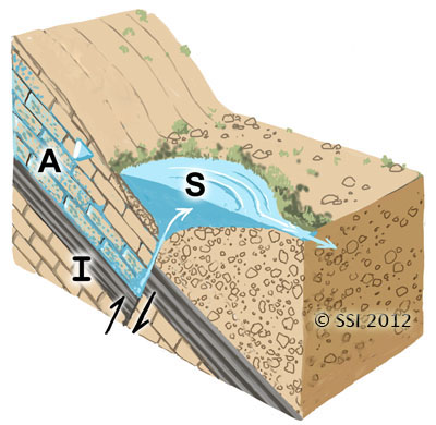 Sketch of Limnocrene spring type. A=aquifer; I=impermeable stratum; S=spring source. Fault lines are shown where appropriate. The inverted triangle represents the water table or piezometric surface.