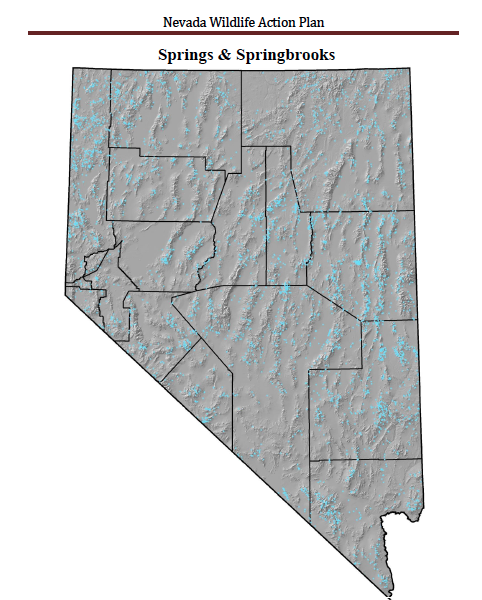 The Distribution of Springs and Springbrooks in Nevada. Photo courtesy of Nevada Department of Wildlife.