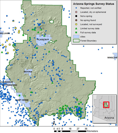 Compilation of available data for springs of Coconino National Forest. Data provided by  ASLRIS  ,  AGIC  , the NHD Database, Northern Arizona University, Grand Canyon Wildlands Council, and Grand Canyon Trust