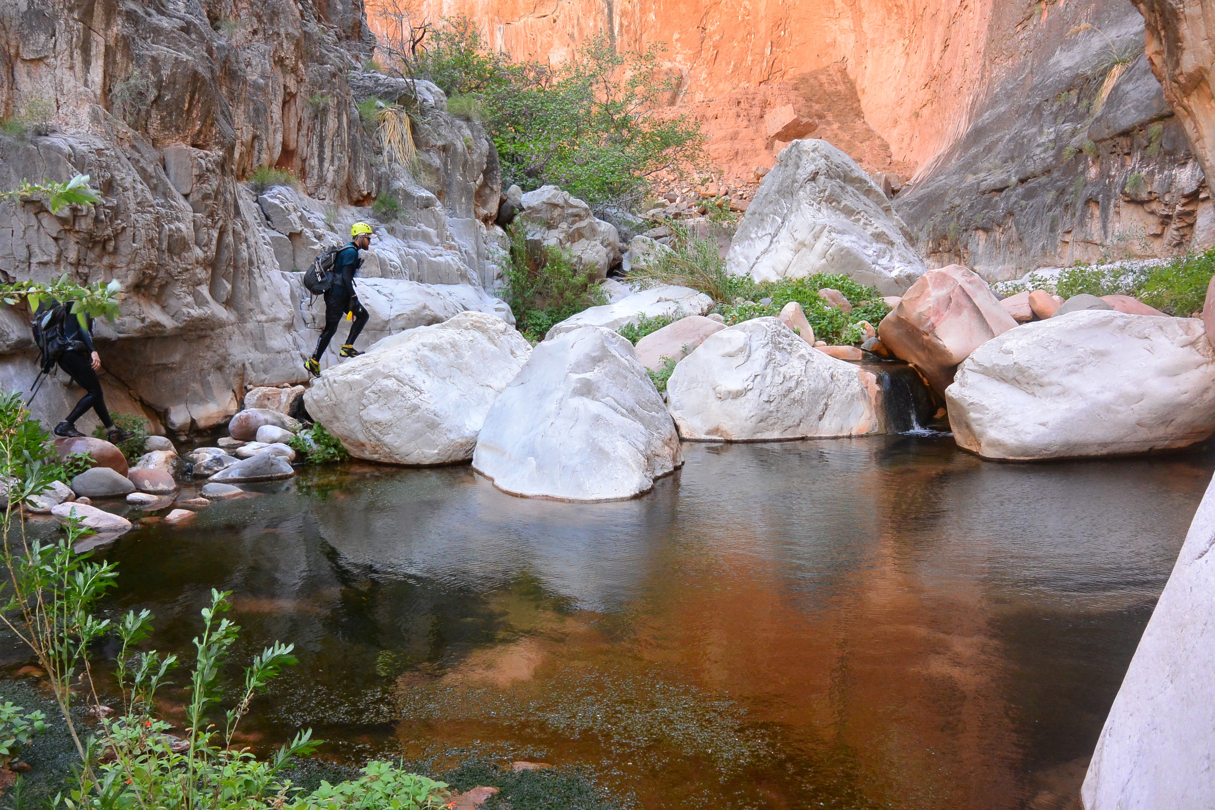Canyoneer Rich Rudow and his crew exploring one of many slot canyons in the Grand Canyon. Mr. Rudow contributes photos and georeference data to SSI and is also on the Board of Directors of the Coalition of American Canyoneers.