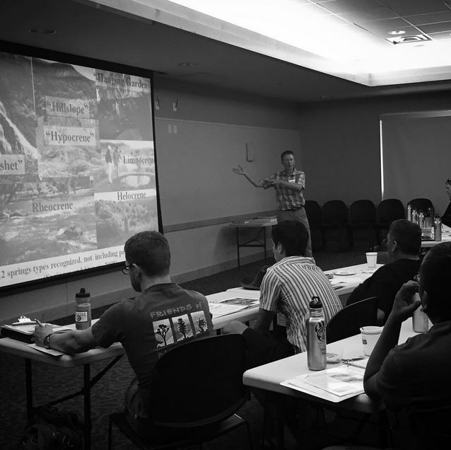 "Research collaborator, Dr. Abe Springer, describes the 12=springs types to the class at the Durango 2015 ""Springs Assessment and Climate Adaptation Workshop."" Photo by Molly Joyce"