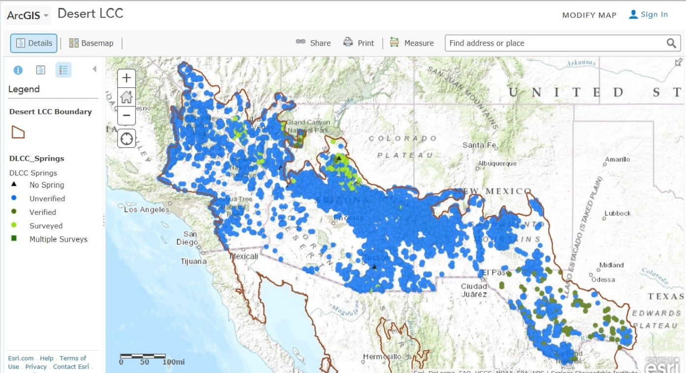 Online interactive map of publicly available springs distribution data with in the DLCC.