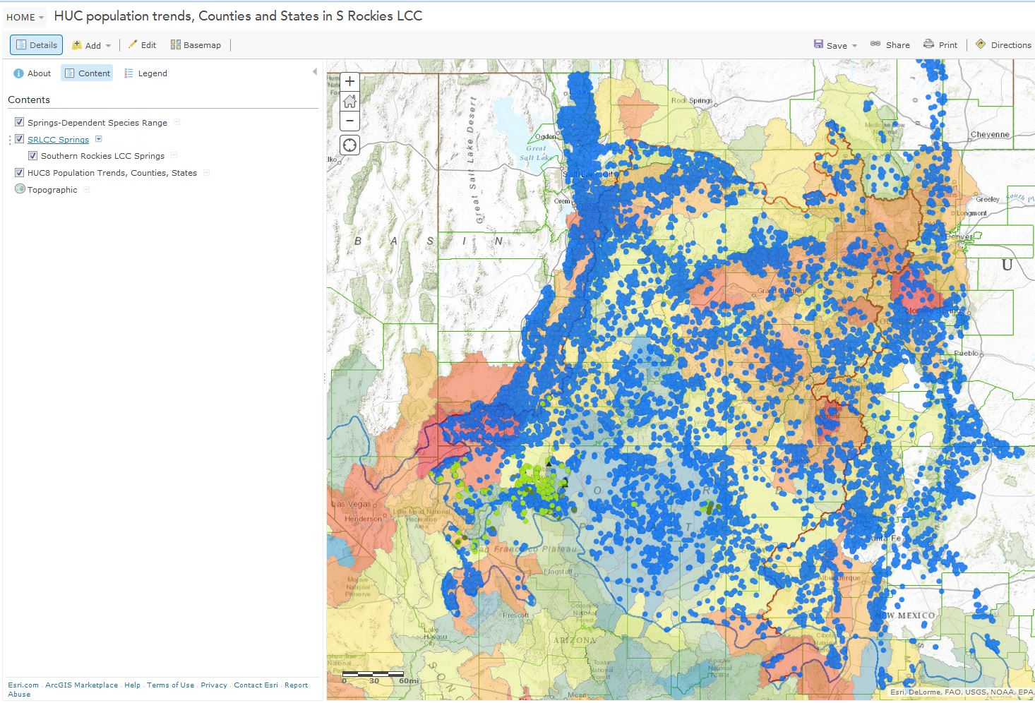 Interactive online map of publicly-available springs data within the Southern Rockies LCC. All data have been imported into the SpringsOnline database at  http://springsdata.org/ .