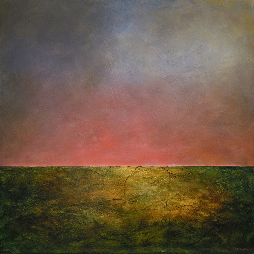 "Luminous Horizon #221 , oil and gold leaf on panel, 32"" x 32"""