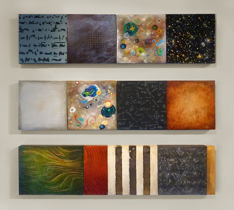 "Star Writing,  mixed media on canvas & panel, 12"" x 48""   The Mathematics of Chaos #1,  mixed media on canvas & panel, 12"" x 48""   Disambiguated Landscape #2 , mixed media on canvas & panel, 12"" 48"""