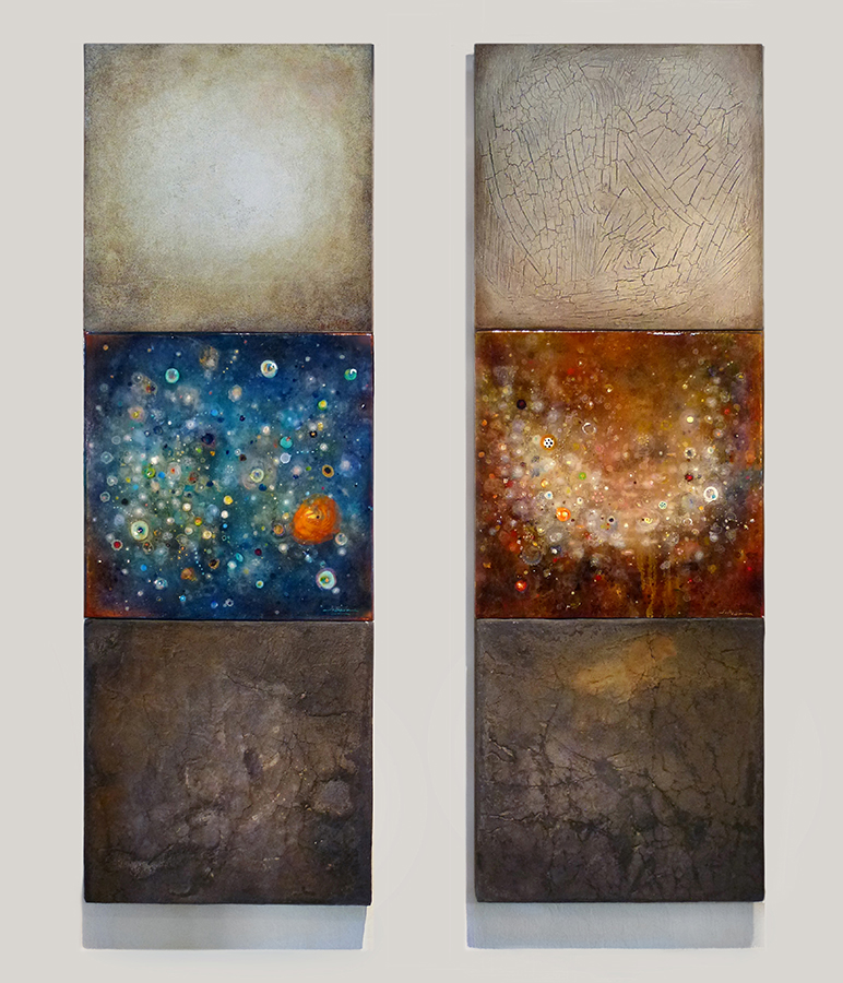 "Blue Star Field,   mixed media on  canvas & panel, 36""  x 12""   Red Star Field,   mixed media on  canvas & panel, 36""  x 12"""