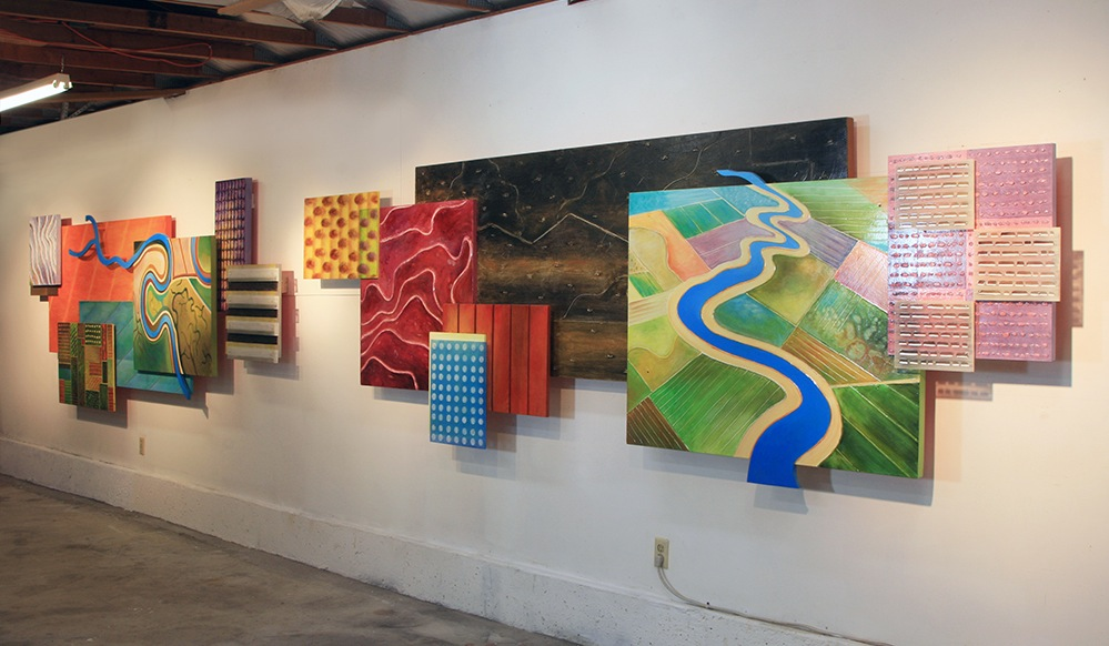 "Patterns Over Lodi,  mixed media on panel, 5' x 26' x 8"" (studio view)"