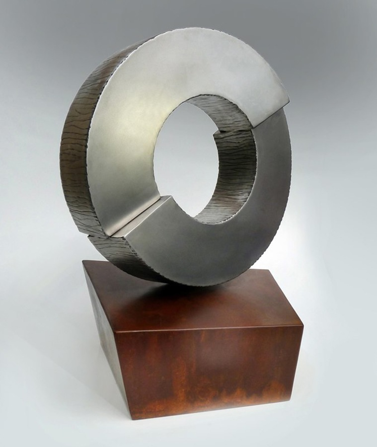 "Broken Circle , stainless and corten steel, 30""H"
