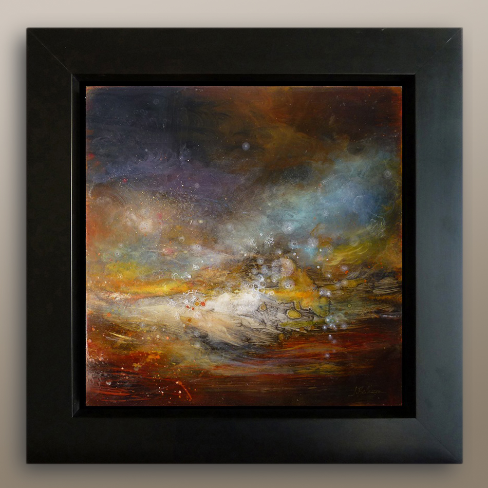 Storm at Sea,  mixed media & epoxy resin on panel