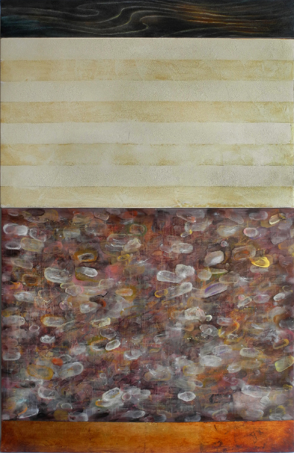 "Layered Space , mixed media on panel, 43"" x 28"""