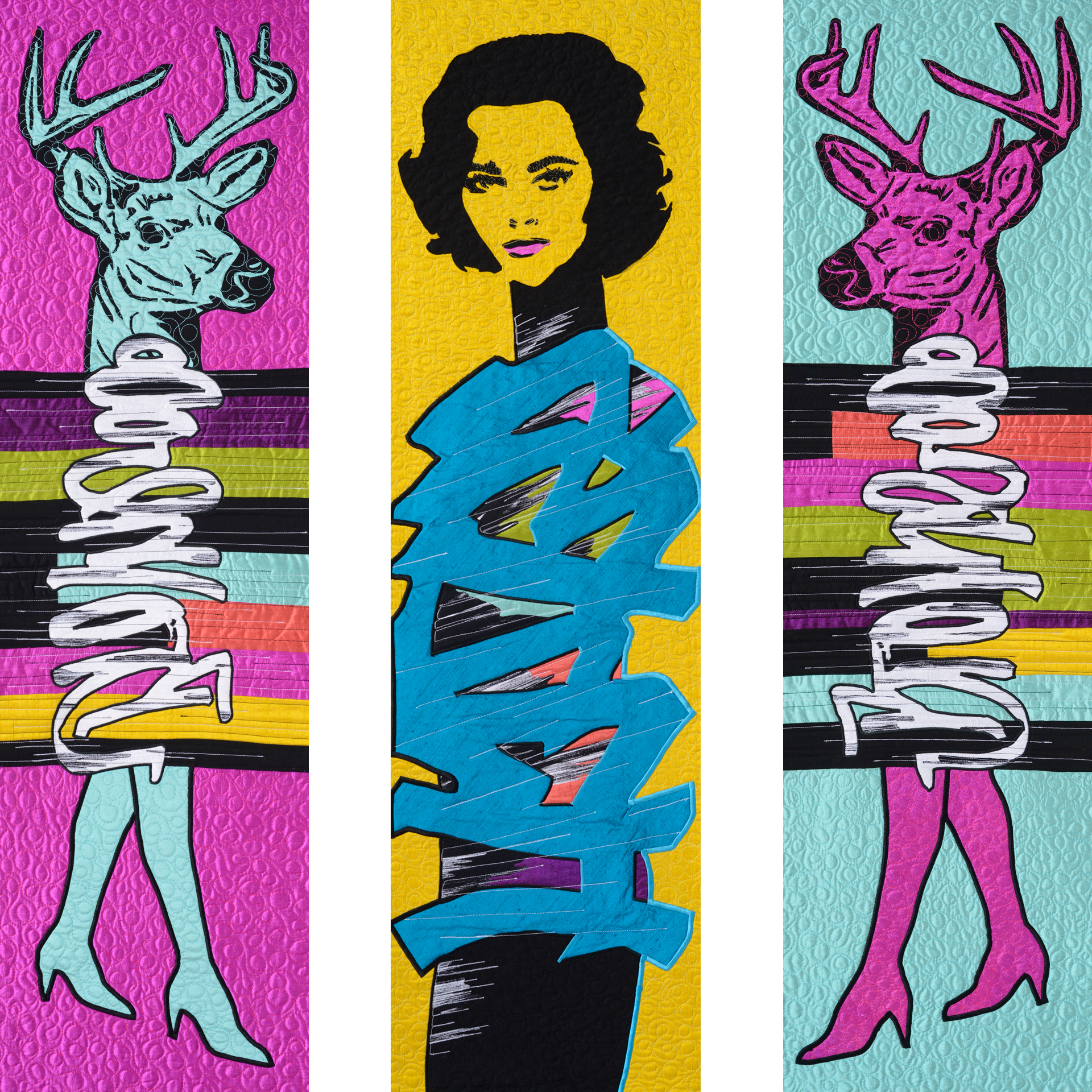 "Graffiti Venus, 14"" x 48"" (each panel) Silk and Cotton Quilt, ©2013"