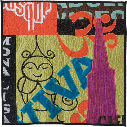 "North Beach, VIVA!, 29.5"" x 29.5"", Silk and Cotton Quilt, ©2007"