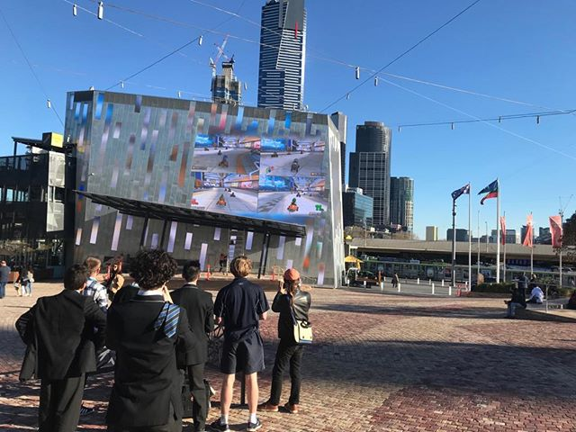 You can play Mario Kart on the big screen at Fed Square now.