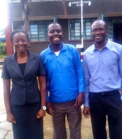 Dr. Victor Shikuku (middle) and colleagues.  Kaimosi Friends University College.