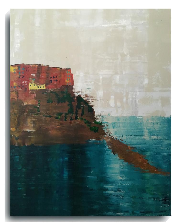Manarola  , 2015, Acrylic on canvas panel, 40 x 30 inches, $1200     Contact Mark Sivertsen