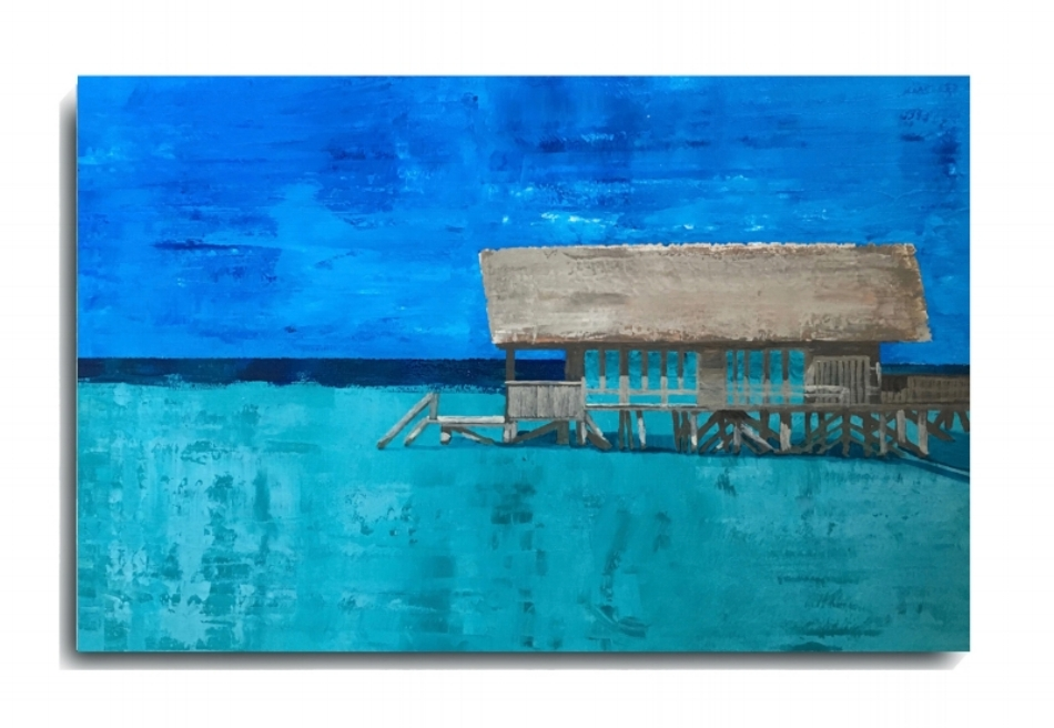 Bora Bora Bungalow   , 2016, Acrylic on canvas panel, approx 24 x 30 inches, $795        Contact Mark Sivertsen