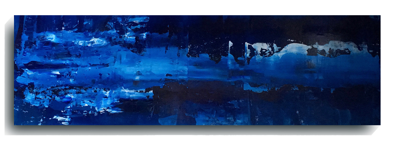Rorschach     Panoramic 17    ,    2016, Acrylic on wood panel, 12 x 36 inches, SOLD