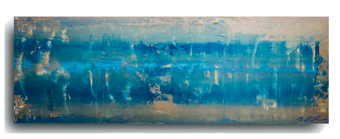 Rorschach     Panoramic     04   , 2015, Acrylic on wood panel, 12 x 36 inches, $495        Contact Mark Sivertsen