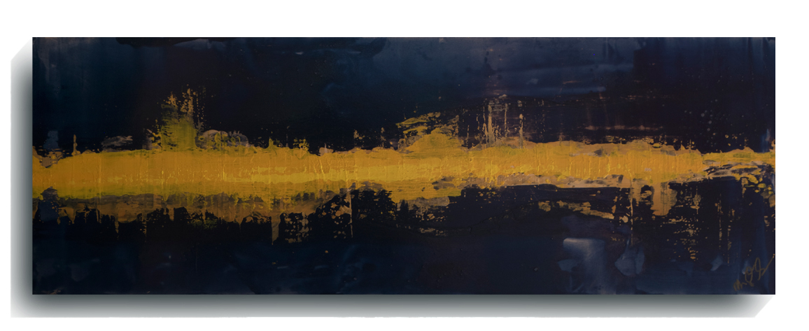 Beam      Panoramic      06 - Paris  , 2016, Acrylic on wood panel, 12 x 36 inches, $495