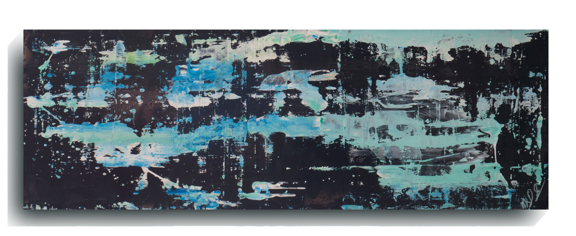 Rorschach     Panoramic     22,    2016, Acrylic on wood panel, 12 x 36 inches, $495        Contact Mark Sivertsen