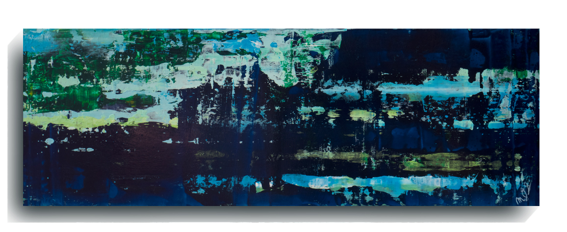 Rorschach     Panoramic     21 - Rock Islands,    2016, Acrylic on wood panel, 12 x 36 inches, SOLD