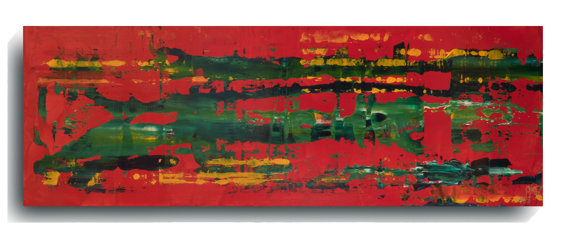 Rorschach     Panoramic     33,    2016, Acrylic on wood panel, 12 x 36 inches, $495        Contact Mark Sivertsen