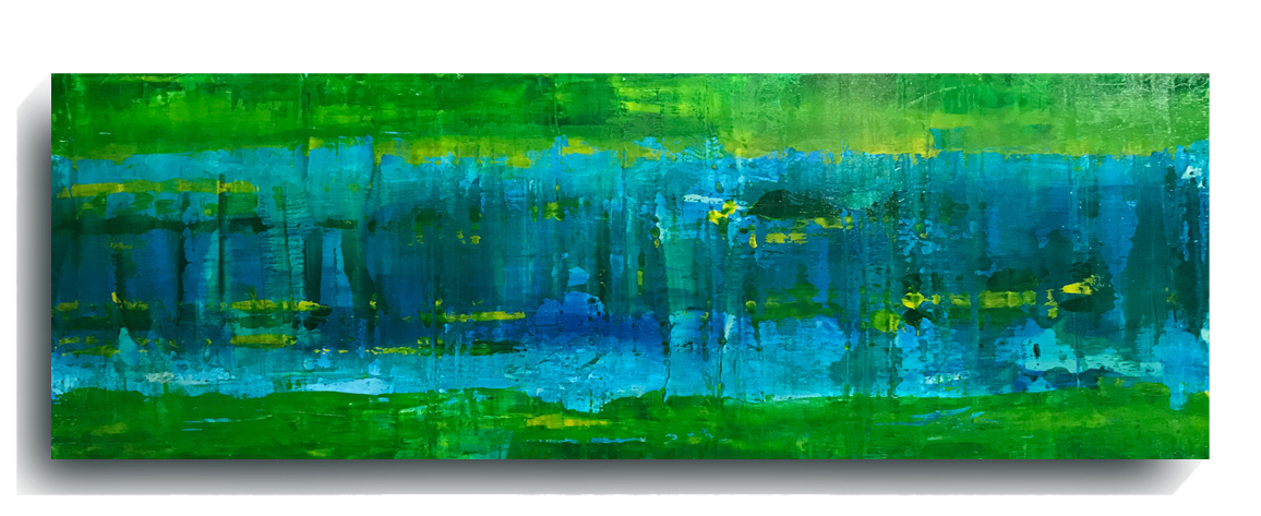 Beam     Panoramic 08    ,    2016, Acrylic on wood panel, 12 x 36 inches, SOLD