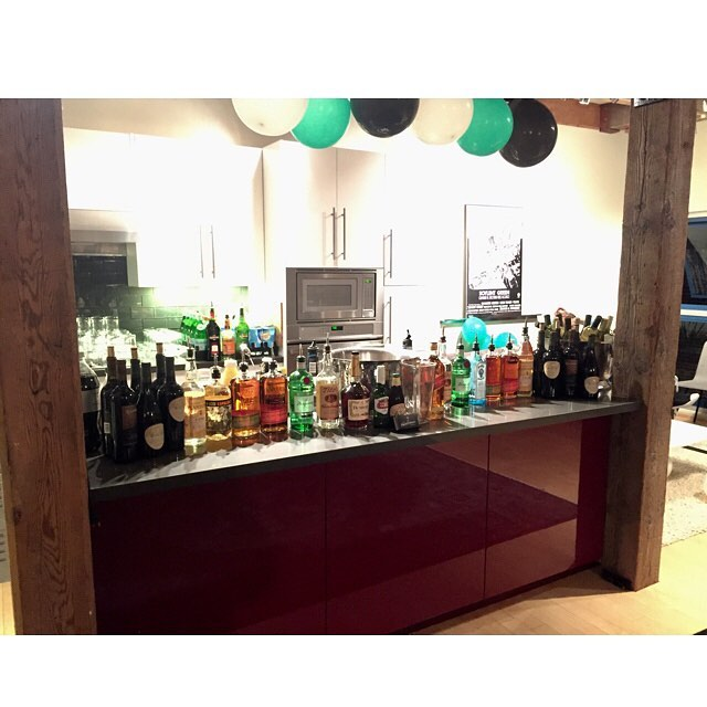 Bar set up for a networking party! Cheers! . . . . . #barsetup #tlc #theliquidcaterers #stirred package #DIYbar #sfevents #bartenderforhire