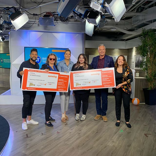 Thanks to the @bttoronto for having us on this morning! Congrats to the two winners of an all inclusive @sunwingvacations getaway 🥳🎉🎊 #vacationbetter #sunwing #clientlove