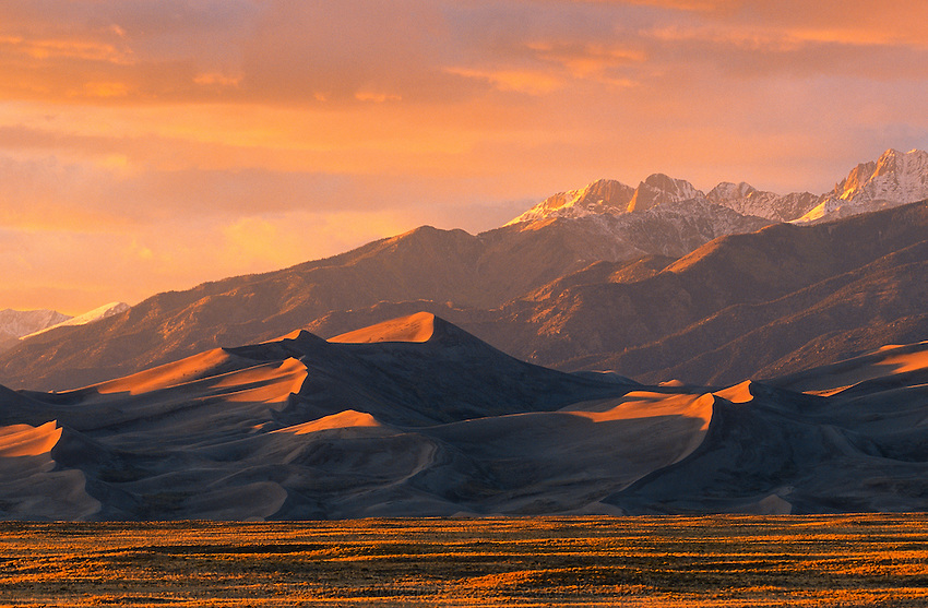 Great Sand Dunes National Park at sunset. Home of X Games human sand bowling. Danny Davis wins inaugural event.