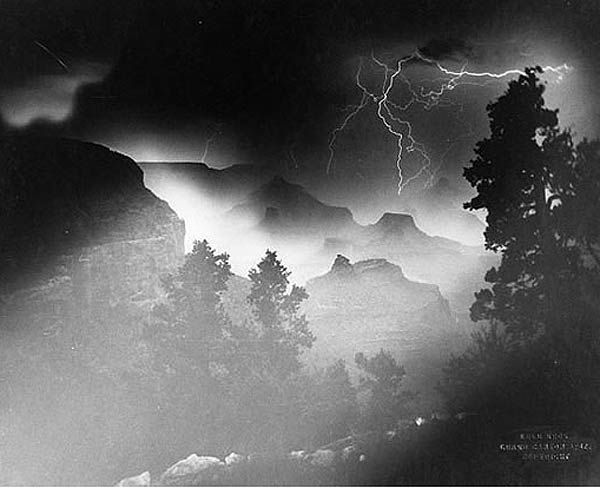 A 1903 Kolb Brothers photograph of lightening over the Grand Canyon. Taken approximately 106 years before the omnipresent iPhone. This particular photo had zero views on Instagram.