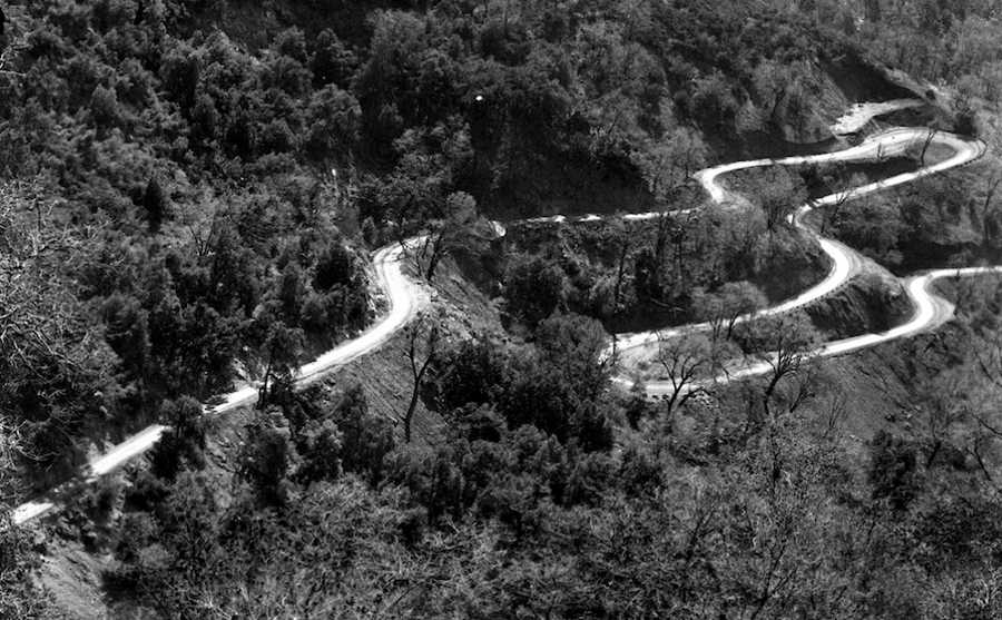General's Highway in 1933. I'm not saying the workers were drunk, but on the back side of that hill is a very straight path.