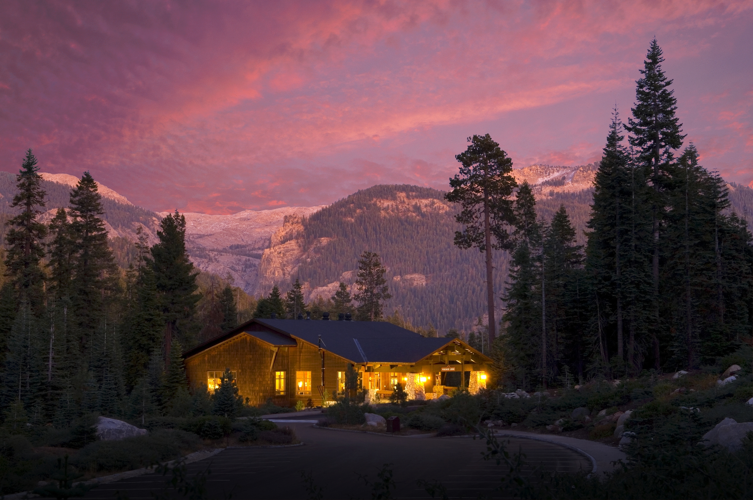Wuksachi Lodge. If I bought this place I would rename it 'Lodge of Golden Light With Violet Backdrop.'Either that or 'Smitty's Motel'.