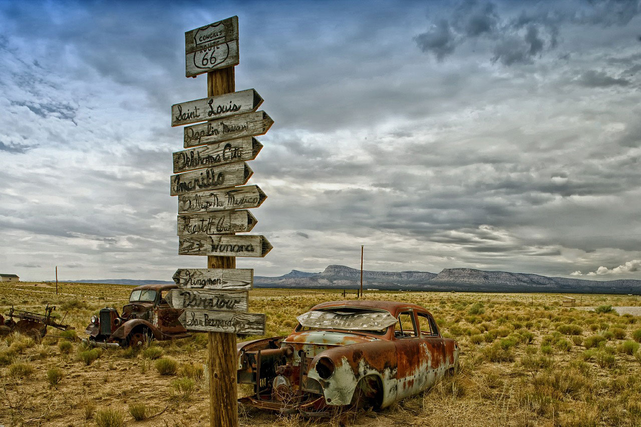 Much of Route 66 is littered with relics of a bygone era. Old rusted out cars are scattered across Texas, New Mexico and Arizona.  Original works of art, rusting in the sun. If backseats could talk much of my parents generation would be in trouble.