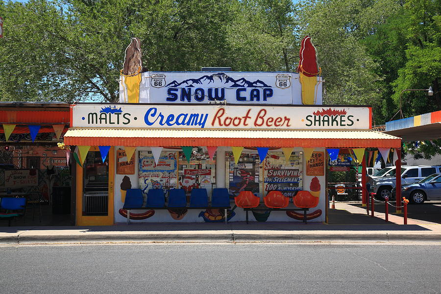 Snow Cap Drive-In on Route 66. Home of one of the best milkshakes I've ever had. Author's Note: Ask for extra napkins and don't ever fall asleep with a straw in your mouth. I've had a lisp for three days.