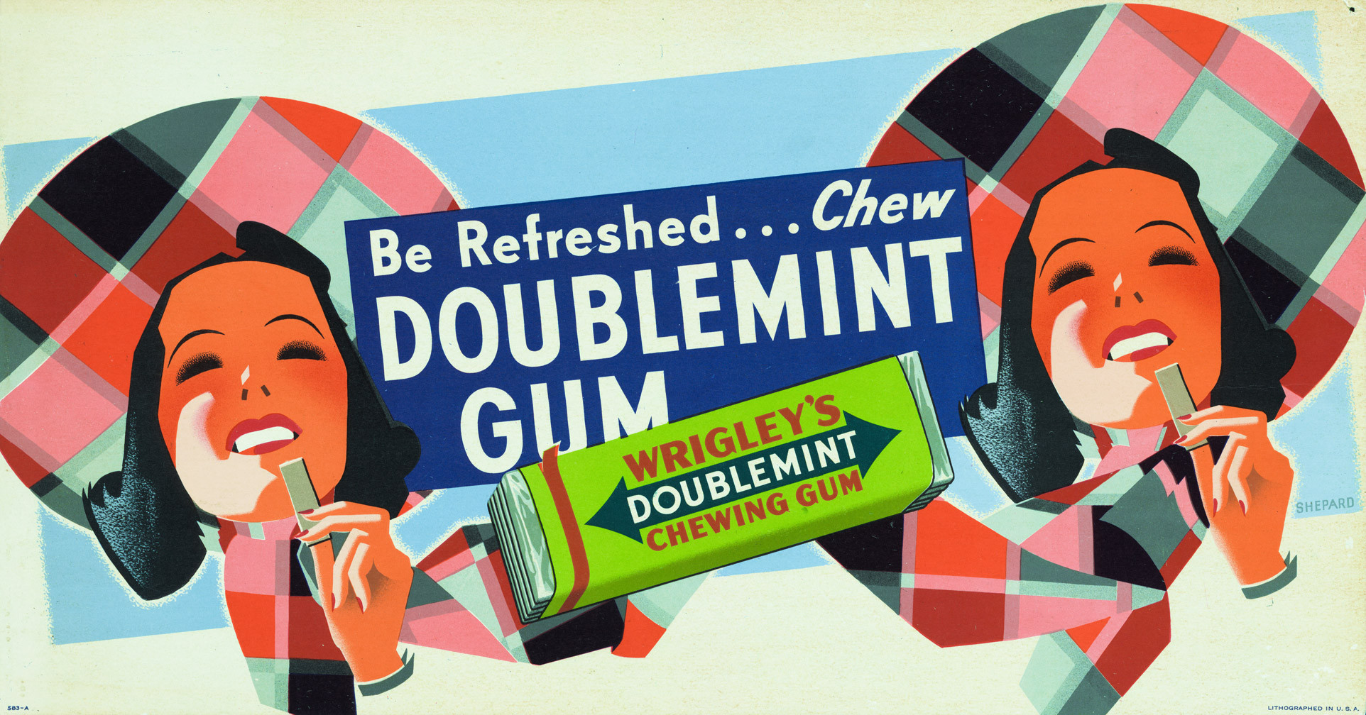 """A 1950's ad for Wrigley's Doublemint gum. The man in the black suit cautioned me not to confuse Doublemint with Spearmint. """"I've seen it happen. It can get ugly fast,"""" he said."""